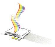 bok som tecknar den öppna frihandssymbolen stock illustrationer