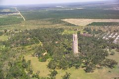 Bok Tower aerial view. The Bok Tower dominates the Historic Bok Sanctuary in Lake Wales, FL.  This sanctuary was given to the US in 1929 by Edward Bok.  The Royalty Free Stock Images