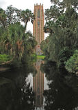 The Bok Tower Reflection, Lake Wales, Florida. The Bok Tower is also known as the Singing Tower'. The tower has one of the best carillons in the world Royalty Free Stock Images