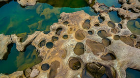 3000 bok unseen beautiful rock of Mekong. Aerial photography around grand canyon in Mekong river. 3000 bok mean 3000 holes,holes eroded into the rock along Stock Photo