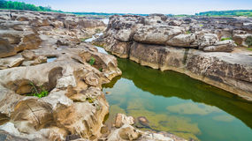 3000 bok unseen beautiful rock of Mekong. Aerial photography around grand canyon in Mekong river. 3000 bok mean 3000 holes,holes eroded into the rock along Stock Images