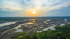 3000 bok unseen mooie rots van Mekong Stock Afbeelding
