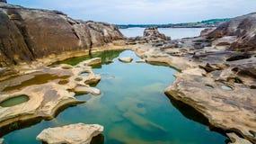 3000 bok unseen mooie rots van Mekong Stock Fotografie