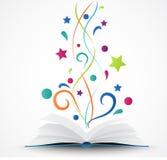 Boka öppnad .abstract med den färgrika stjärnan och vinka Arkivbilder