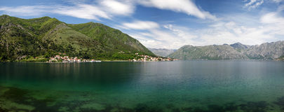 Boka Bay in Montenegro. Panorama of Boka bay from the village of Dobrota in Montenegro Royalty Free Stock Photo
