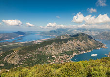 Boka Bay, Montenegro. Views of the Boka Bay, with the cities of Kotor and Tivat with the top of the mountain, Montenegro Royalty Free Stock Image