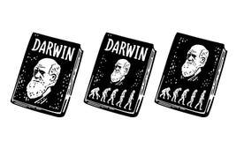 Boka Darwin teorin av evolution av människan Från apa till mannen Tappninggravyr vektor illustrationer