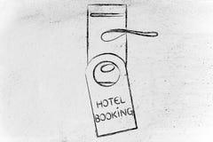 Boka det perfekta hotellet, rolig design för dörrhängare Arkivbild