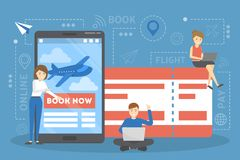 Boka flygplanbiljetten direktanslutet på apparaten royaltyfri illustrationer