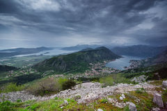 Boka Kotor Bay from above. Montenegro Stock Images