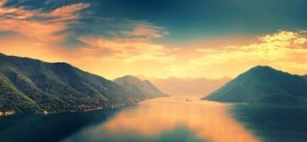 Boka-Kotor Bay, Montenegro. Sunset scene Stock Images