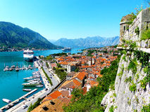 Boka Kotor. Harbour in Boka Kotor, historical old town UNESCO, Monte Negro Royalty Free Stock Photo
