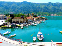 Boka Kotor. Harbour in Boka Kotor with restaurant, Monte Negro Stock Photos