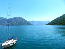 Boka Kotor. Sail boat on the sea in Boka Kotor Stock Photos