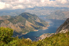 Spectacular and picturesque view on Boka Kotorska. In Montenegro royalty free stock photos