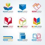 Boka logoen för fastställd design för utbildning och för affärsvektor stock illustrationer