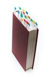 Boka med bokmärkear royaltyfria bilder