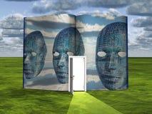 Boka med scienceplats och dörröppningen av ljus Arkivbild