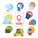 Boka transport och hotellet Arkivbilder