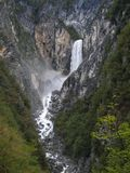 Boka waterfall near Bovec in Julian Alps Royalty Free Stock Photography
