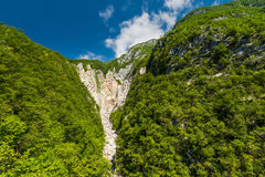 Boka waterfall in Slovenia Julian Alps Stock Image