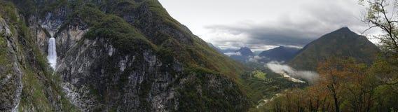 Boka waterfall and valley river Soca near Bovec Stock Photos