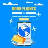 Boka websiten för vektor för flygbolagbiljetter den online-plana stock illustrationer