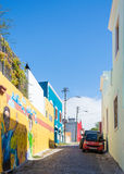 BoKaap在开普敦为它明亮地被绘的房子被认识 免版税库存照片
