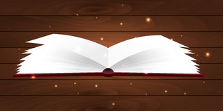 Bokaffisch Öppna boken med ljust ljus för mystiker på träbakgrund också vektor för coreldrawillustration Royaltyfria Bilder