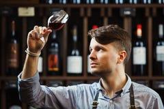Bokal av rött vin på bakgrund, manlig sommelier som uppskattar drinken royaltyfria foton