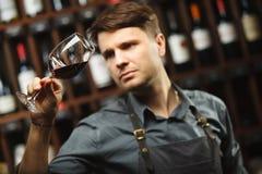 Bokal czerwone wino na tle, męski sommelier docenia napój obrazy stock