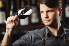 Bokal czerwone wino na tle, męski sommelier docenia napój zdjęcia stock