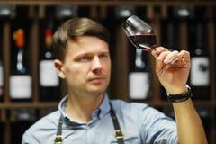 Bokal czerwone wino na tle, męski sommelier docenia napój obraz stock