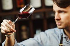 Bokal czerwone wino na tle, męski sommelier docenia napój zdjęcie stock