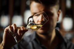 Bokal del vino blanco en el fondo, sommelier masculino que aprecia la bebida imágenes de archivo libres de regalías