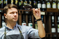 Bokal of red wine on background, male sommelier appreciating drink. Bokal of red wine on background of male sommelier appreciating color, quality, flavor and Stock Photos
