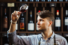 Bokal of red wine on background, male sommelier appreciating drink royalty free stock photos
