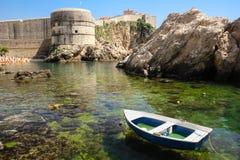 Bokar堡垒和市墙壁 杜布罗夫尼克市 克罗地亚 免版税库存图片