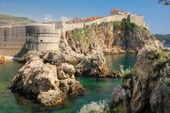 Bokar堡垒和市墙壁 杜布罗夫尼克市 克罗地亚 库存图片