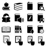 Bokar, litteratur- och läsningsymboler royaltyfri illustrationer
