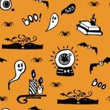 Bokar sömlös vektorbakgrund för den positiva orange allhelgonaaftonen med spökar, spindlar, slagträn, magi och stearinljus royaltyfri illustrationer