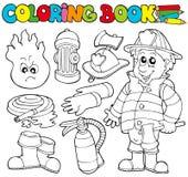 bokbeståndfärgläggningbrandman royaltyfri illustrationer