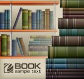 Bokbuntar på hylla Arkivbild