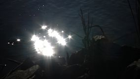 Bokeh太阳强光从水表面反射了在晴朗的夏日,从水的抽象模糊的背景 影视素材