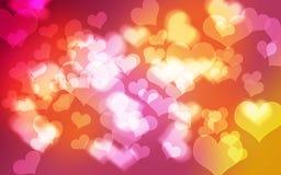 Bokeh桃红色心脏背景 库存照片