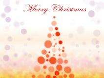 Bokeh泡影与雪的圣诞树 免版税库存图片