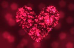 bokeh背景的红色心脏 免版税图库摄影