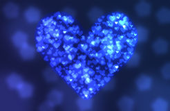bokeh背景的蓝色心脏 库存照片
