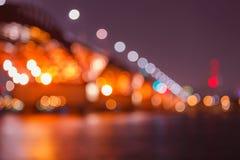 Bokeh, Seongsan桥梁 免版税图库摄影
