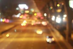 Bokeh światło przy nocą na drodze w Thailand Obraz Stock